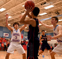 "On Valentine's Day, Marshall Boys' Varsity breaks TJ's heart by turning up the ""D"" in the second half, limiting TJ to just 9 total points, in a 46-26 victory in the District Basketball Tournament."